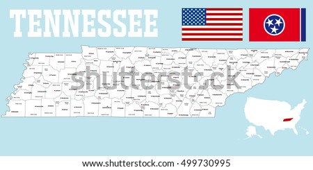 Large Detailed Map State Tennessee All Stock Vector - Detailed map of tennessee