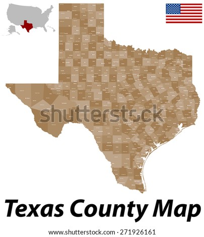 A large and detailed map of the State of Texas with all counties and county seats.
