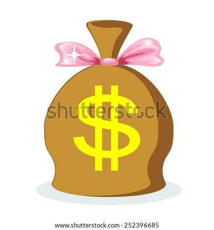 A large bag full of dollars with a pink bow, vector illustration - stock vector