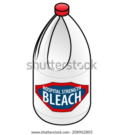 A large bottle of hospital strength bleach. - stock vector