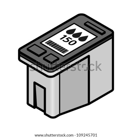A large-capacity inkjet printer cartridge with black ink. - stock vector
