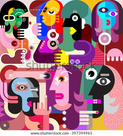 A large company of people who have something to discuss. Modern abstract fine art illustration. - stock vector