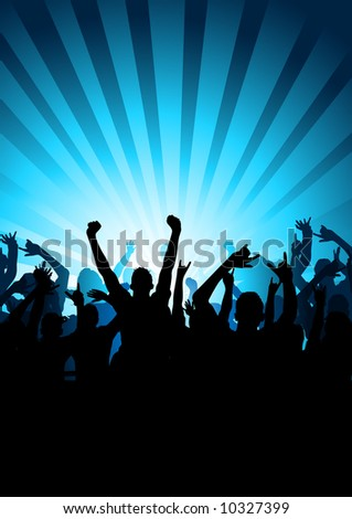 A large crowd of cheering people - stock vector