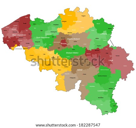 a large detailed map of belgium with all districts and main cities