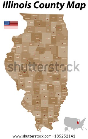 A large, detailed map of the State of Illinois with all counties and main cities. - stock vector
