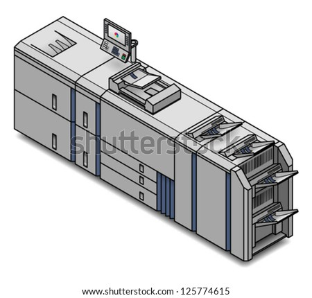 A large digital press/copier/scanner/printer/publisher. - stock vector