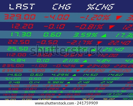 a large display of daily stock market price and quotation viewing from the top left, vector illustration - stock vector