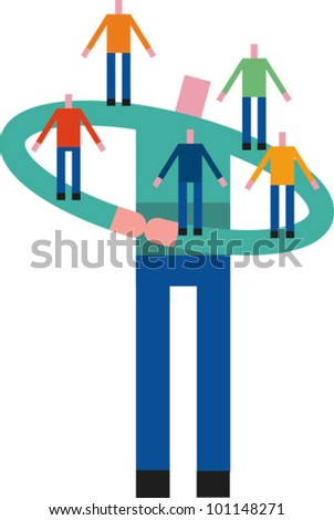 A large figure supports smaller figures on his arms - stock vector