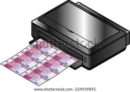 A large format inkjet printer printing money / bank notes. Concept: economy, counterfeiting, value of money. - stock vector