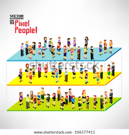 a large group and category of pixel people vector icon design