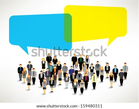 a large group of business people gather together vector icon design - stock vector