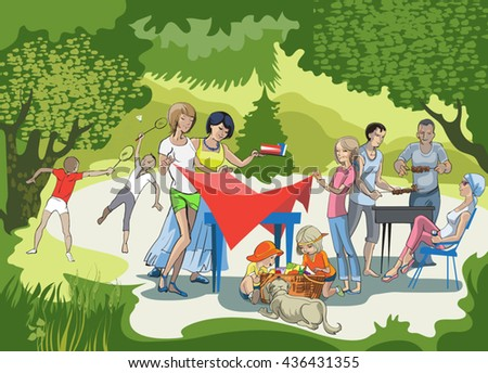 A large group of friends making a barbecue on the meadow - stock vector