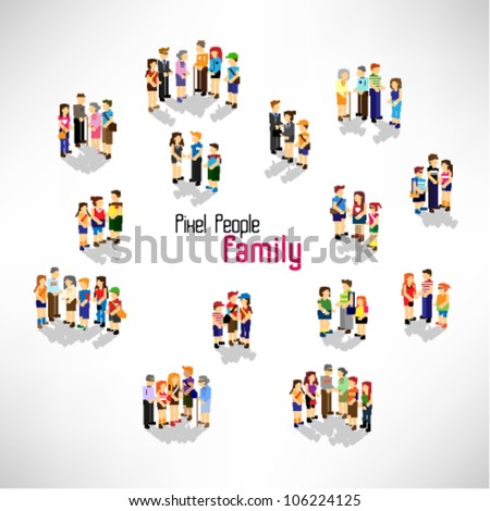a large group of people and family vector icon design - stock vector