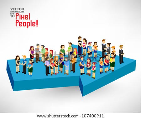 a large group of people gather together on arrow vector icon design - stock vector