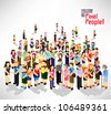 a large group of people gather together vector icon design - stock photo