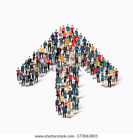 A large group of people in the shape of an arrow direction. Vector illustration - stock vector