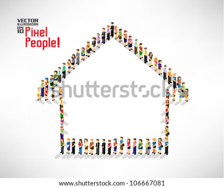 a large group of pixel people forming into house shape vector icon design - stock vector