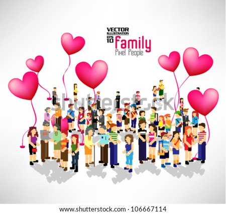 a large group of pixel people with love balloon vector icon design