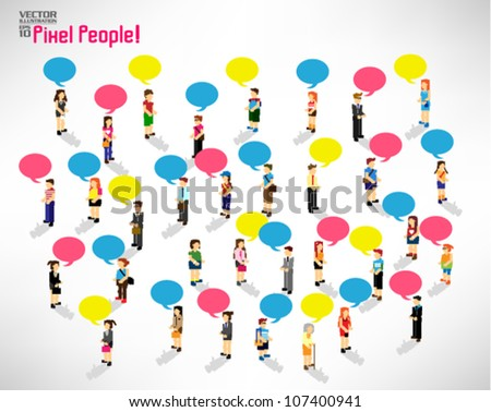 a large group of pixel people with talking bubble vector icon design - stock vector