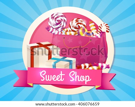 A large set of candies, sweets, greeting, logo, store, package. Box of chocolates, gifts for the holiday. - stock vector
