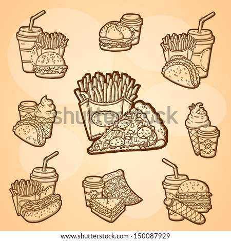A large set of fast food. Easily editable vector. Various fast food on the yellow background. Isolated objects. For menu. Hand drawing. Vintage label. - stock vector