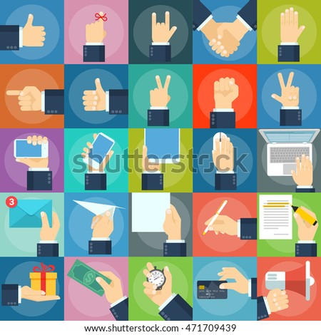 A large set of flat icons hand and gestures. Hands operating phones, tablets, laptops, and gadgets.