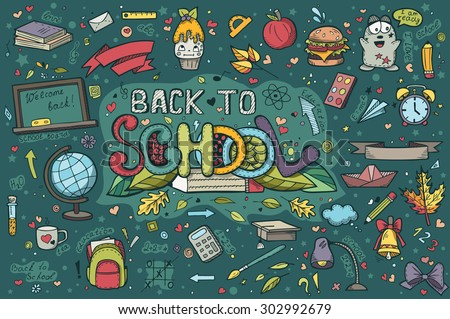 A large set of hand-drawn doodles back to school - stock vector