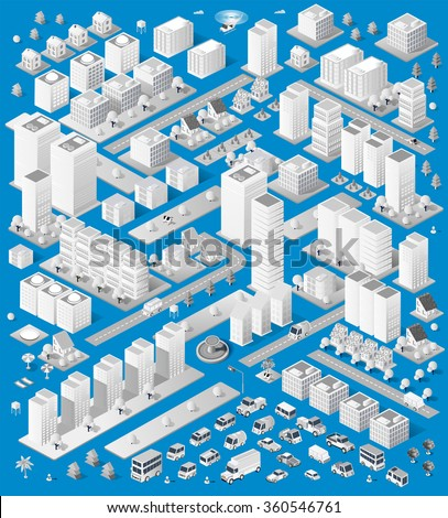 A large set of isometric urban objects. A set of urban buildings, skyscrapers, houses, supermarkets, roads and streets. - stock vector