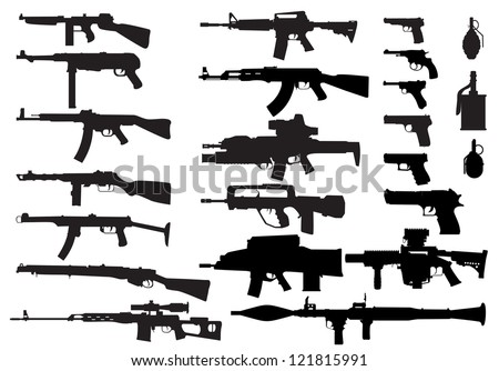A large set of modern small arms in the vector