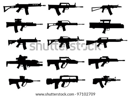A large set of modern small arms in the vector - stock vector