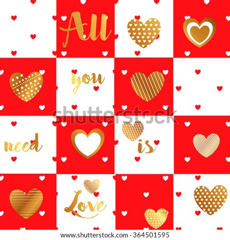 A large set of valentines with red hearts on a red background with gold shiny candy. Greeting sincere love writing letters in gold color. All you need is love - stock vector