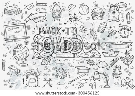 A large set of vector hand-drawn doodles back to school. Black contour