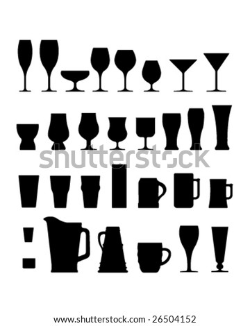 A large set of vector silhouettes of alcohol and coffee drink glasses, cups, and mugs. - stock vector