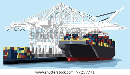 A large shipping barge at a port is loaded with various freight containers using white overhead cranes. - stock vector