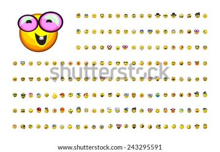 A large variety of cute emoticons each with a distinct expression which communicates a wide range of emotions in a fun cartoon style. These smileys are perfect for any size including very small sizes. - stock vector