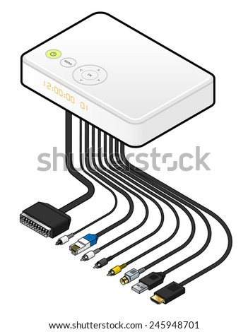 A large white IPTV set top box or integrated receiver decoder with cables and connectors. - stock vector