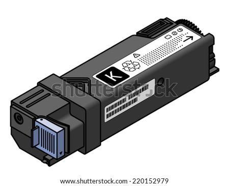 A laser printer toner cartridge - black. - stock vector