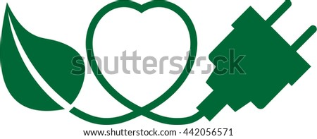 A leaf, a heart and a plug symbolizing renewable energy - stock vector