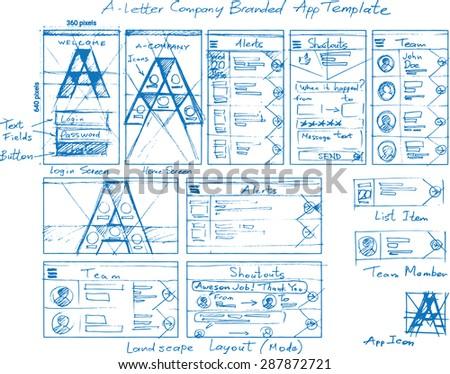 A-Letter Branded Corporate Internal Mobile App Vector Mockup Sketch - stock vector