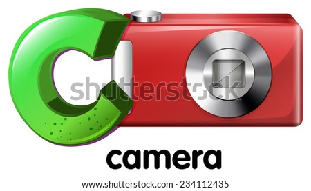 A letter C for camera on a white background