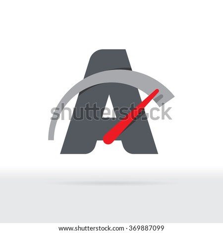 A Letter Car Speedometer, A Letter Meter Logo - stock vector