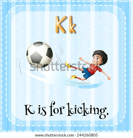 A letter K for kicking - stock vector