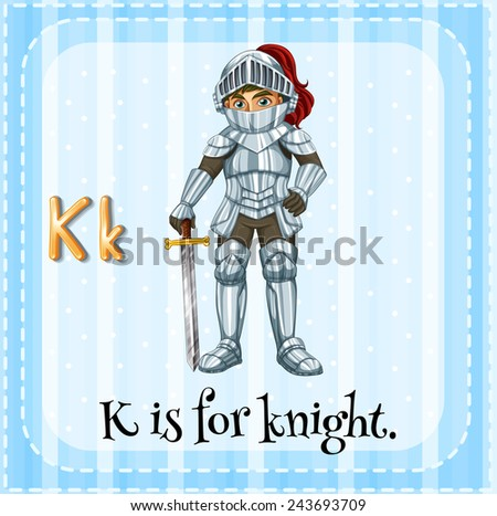 A letter K which stands for knight - stock vector