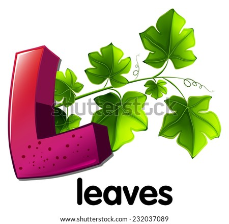 A letter L for leaves on a white background  - stock vector