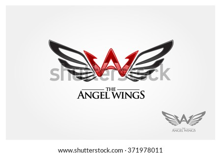 A letter logo design template. Angel wing vector unusual letter. Vector design template elements for your application or company. - stock vector