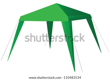 A light canopy provides protection from the sun in pozlde and gardening. Vector illustration.