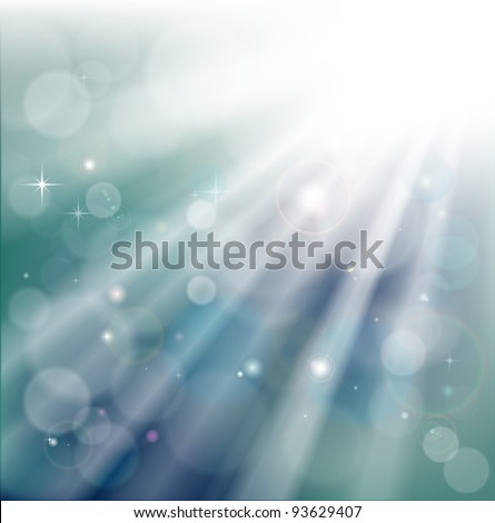 A light rays background with  bokeh effect and glowing star particles - stock vector