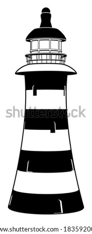 A lighthouse illustration in stylised black and white with stripes - stock vector