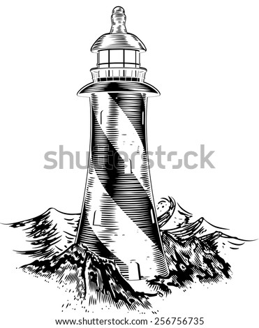 A lighthouse in a vintage lithograph style with rough waves behind  - stock vector