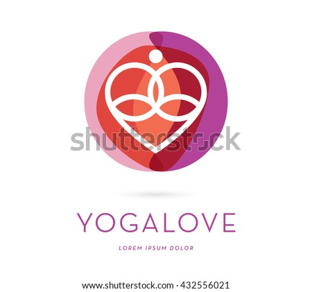 A LINE ABSTRACT SILHOUETTE , IN MEDITATION POSITION INCORPORATED WITH A HEART , VECTOR ICON / LOGO  - stock vector